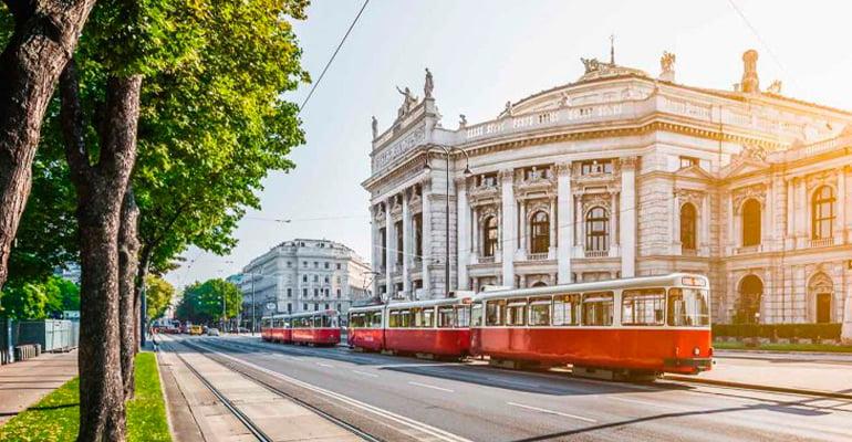 ruta con el tranvía de Viena
