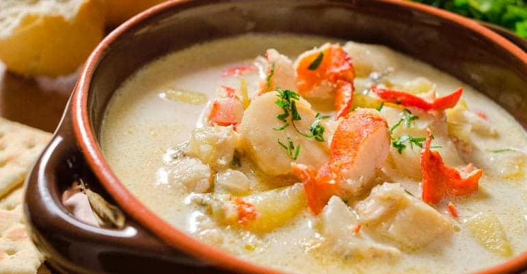 Seafood chowder, sopa que comer en Irlanda