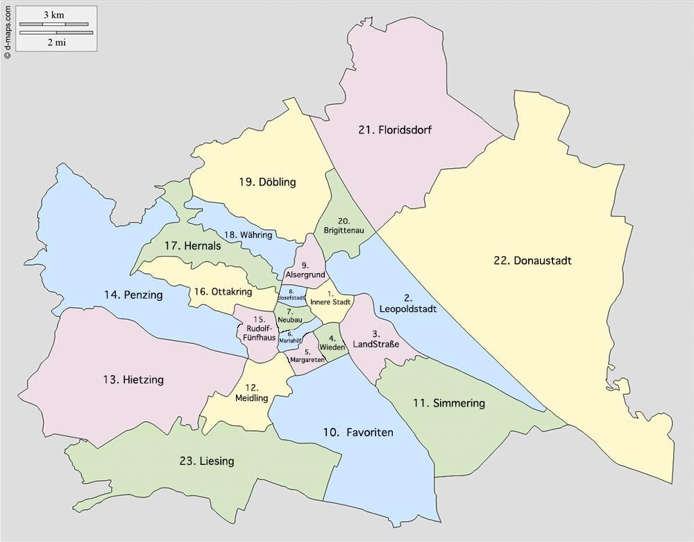 mapa de los distritos de Viena