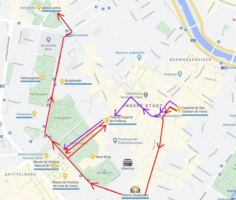 mapa con ruta andando por viena