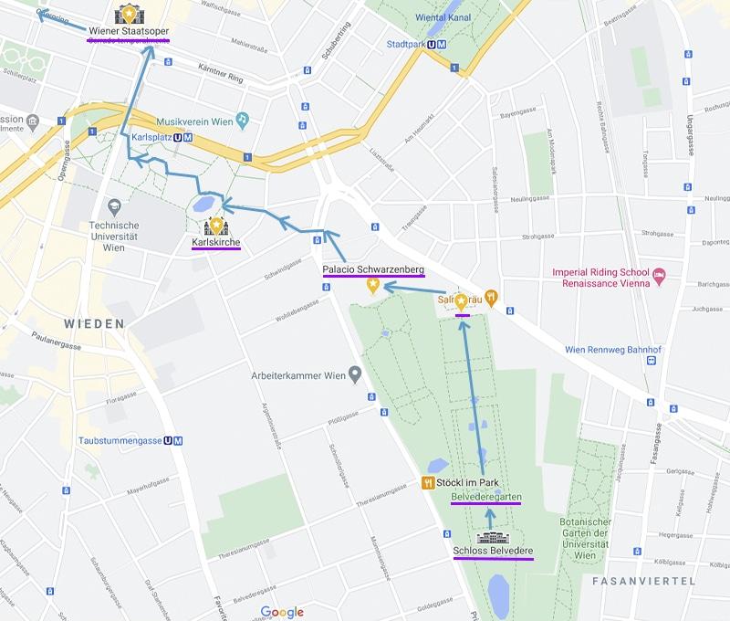 mapa de ruta turística andando por Viena