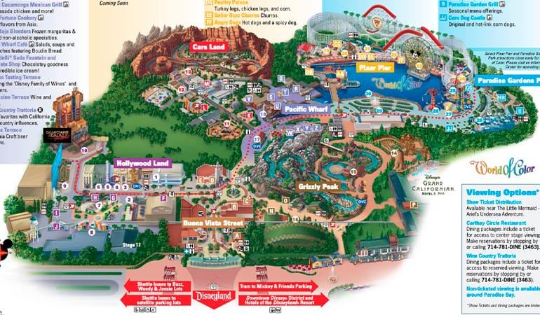 mapa Disneyland california adventure park, uno de los parques de atracciones en Los Ángeles