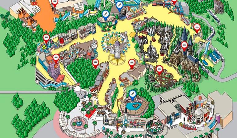 mapa Universal Studios Hollywood, uno de los parques de atracciones en Los Ángeles