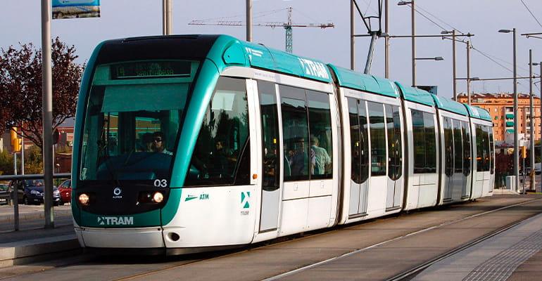 tranvía para de Barcelona